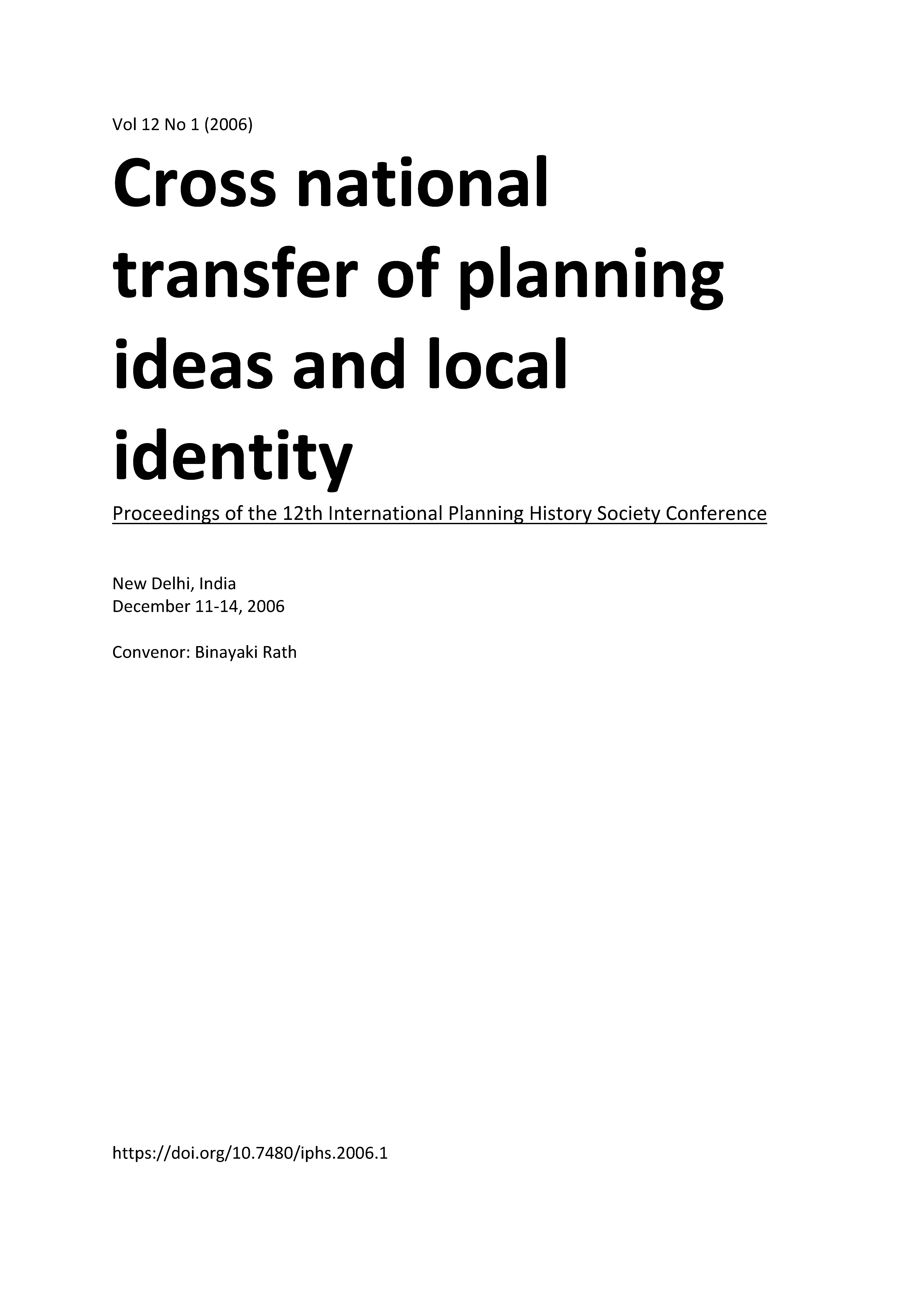 View Vol. 12 No. 1 (2006): Cross national transfer of planning ideas and local identity