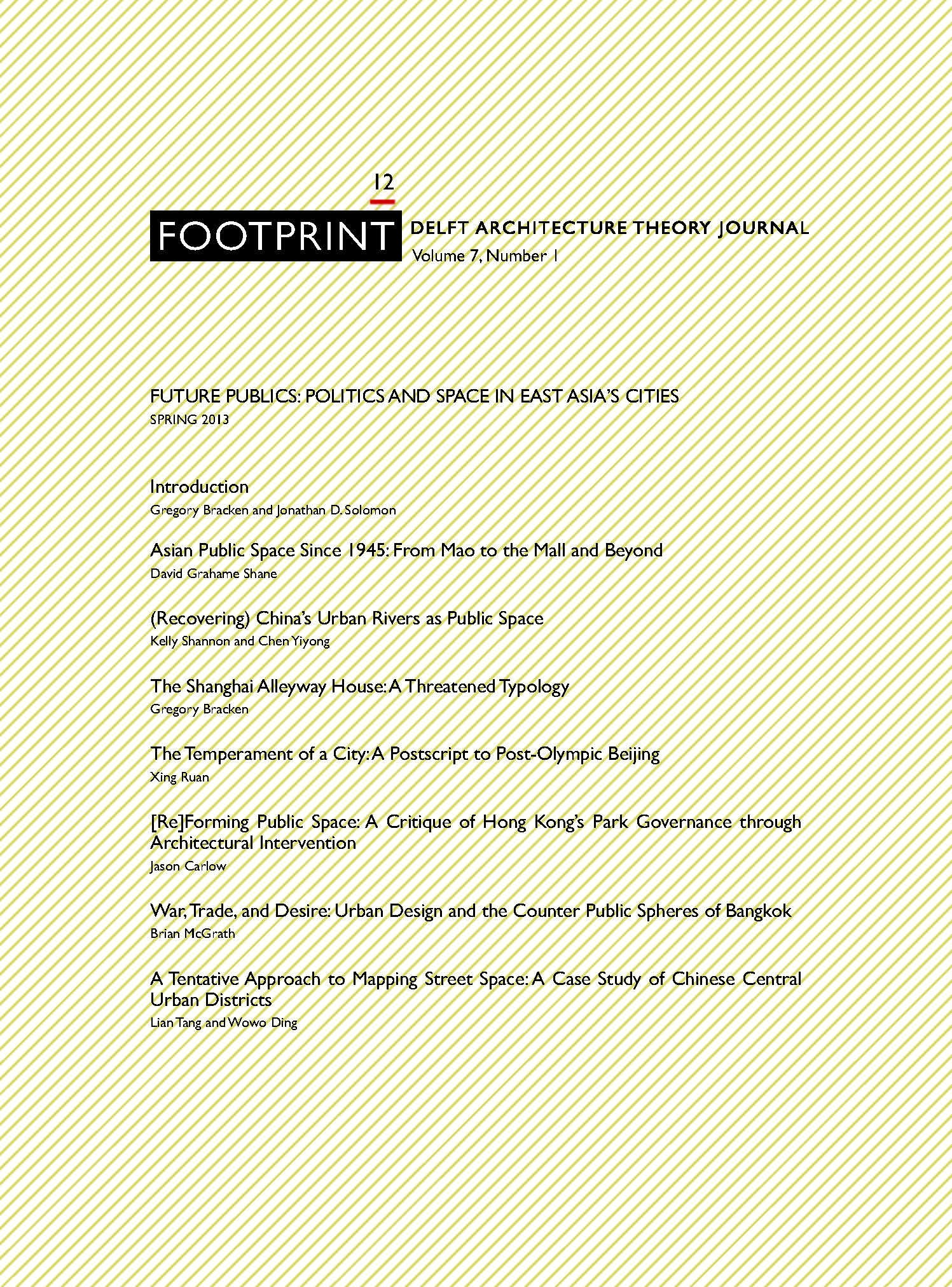 View Issue # 12 | Spring 2013 | Future Publics: Politics and Space in East Asia's Cities