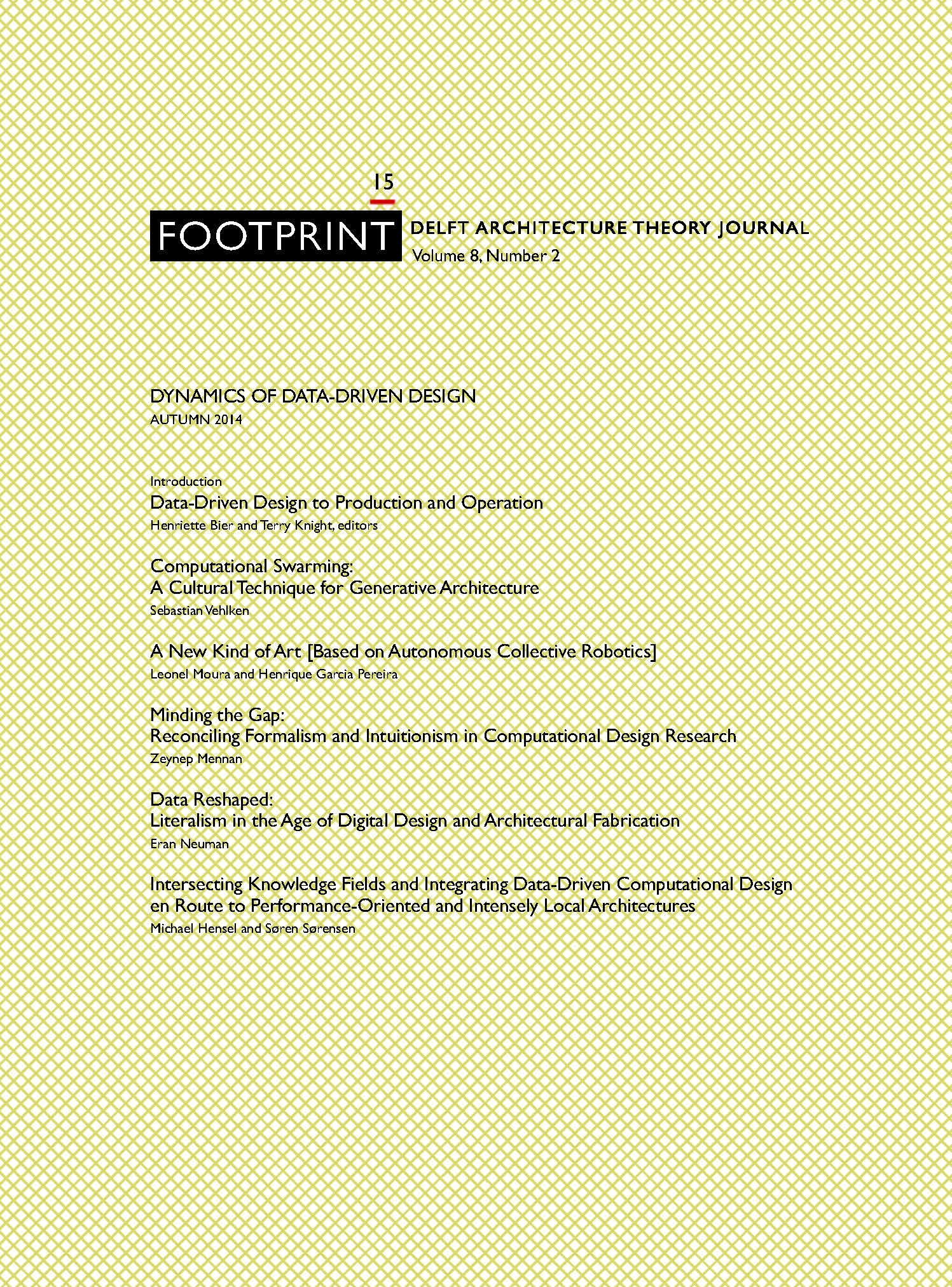 View Issue # 15   Autumn 2014   Dynamics of Data-Driven Design