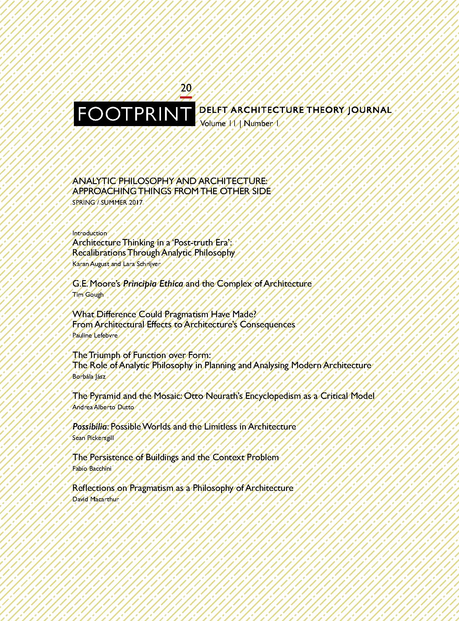 View Issue # 20   Spring / Summer 2017   Analytic Philosophy and Architecture: Approaching Things from the Other Side